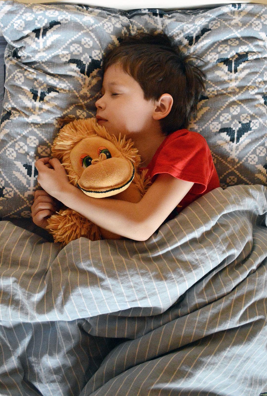 Un garçon dort dans son lit avec son doudou, une peluche qui représente un singe.